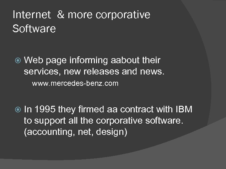 Internet & more corporative Software Web page informing aabout their services, new releases and