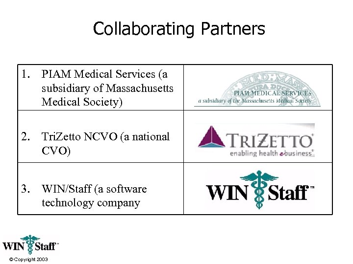 Collaborating Partners 1. PIAM Medical Services (a subsidiary of Massachusetts Medical Society) 2. Tri.