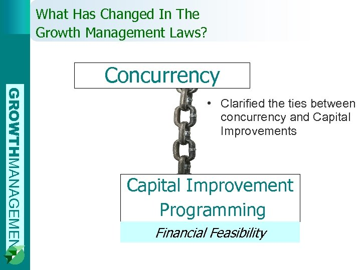 What Has Changed In The Growth Management Laws? Concurrency GROWTHMANAGEMENT • Clarified the ties