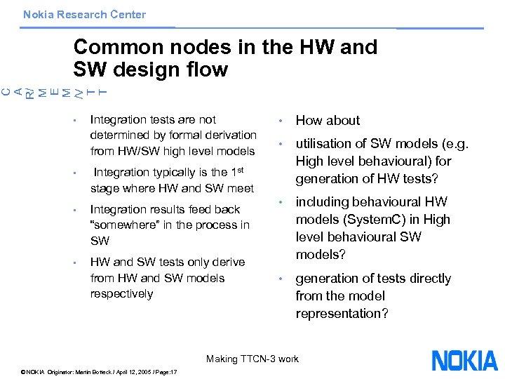 Nokia Research Center C A R/ M E M /V T T Common nodes