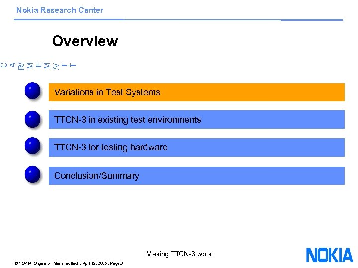 Nokia Research Center C A R/ M E M /V T T Overview Variations