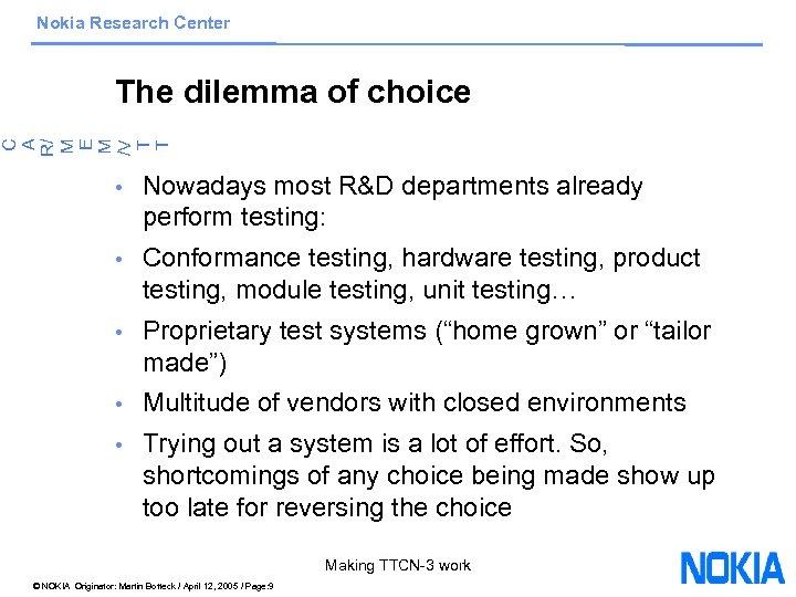 Nokia Research Center C A R/ M E M /V T T The dilemma