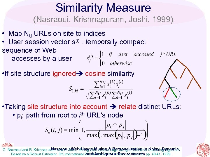 Similarity Measure (Nasraoui, Krishnapuram, Joshi. 1999) • Map NU URLs on site to indices