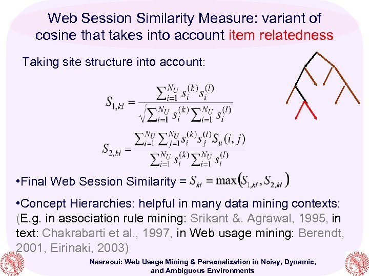 Web Session Similarity Measure: variant of cosine that takes into account item relatedness Taking