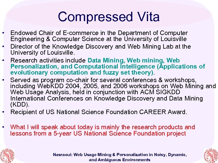 Compressed Vita • Endowed Chair of E-commerce in the Department of Computer Engineering &