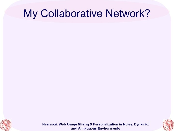 My Collaborative Network? Nasraoui: Web Usage Mining & Personalization in Noisy, Dynamic, and Ambiguous