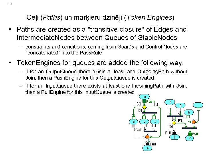41 Ceļi (Paths) un marķieru dzinēji (Token Engines) • Paths are created as a