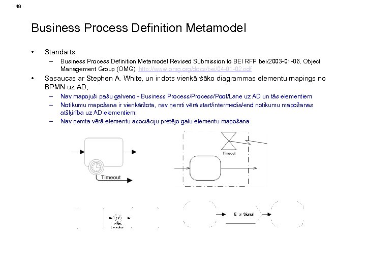 49 Business Process Definition Metamodel • Standarts: – • Business Process Definition Metamodel Revised
