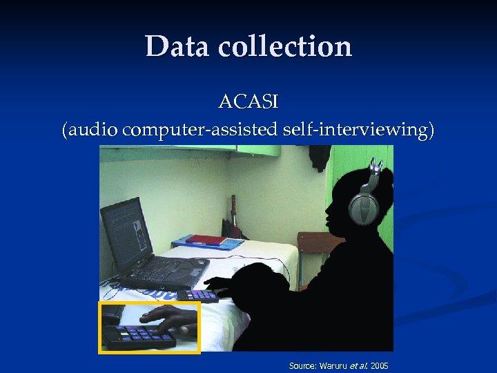Data collection ACASI (audio computer-assisted self-interviewing) Source: Waruru et al. 2005