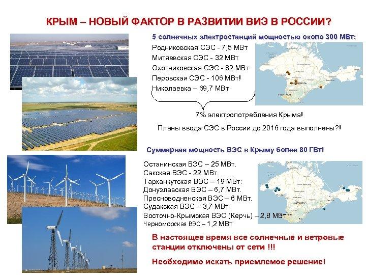 КРЫМ – НОВЫЙ ФАКТОР В РАЗВИТИИ ВИЭ В РОССИИ? 5 солнечных электростанций мощностью около