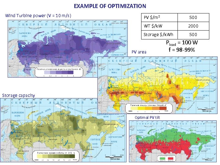 EXAMPLE OF OPTIMIZATION Wind Turbine power (V = 10 m/s) PV $/m 2 500