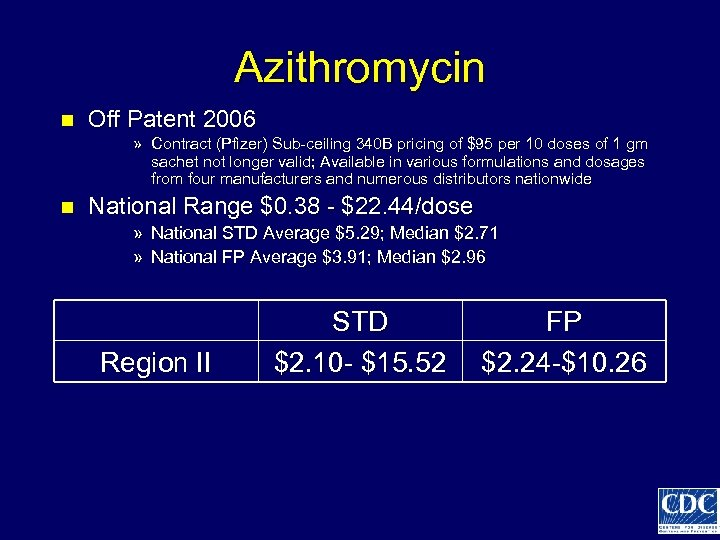 Azithromycin n Off Patent 2006 » Contract (Pfizer) Sub-ceiling 340 B pricing of $95
