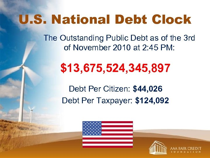 U. S. National Debt Clock The Outstanding Public Debt as of the 3 rd