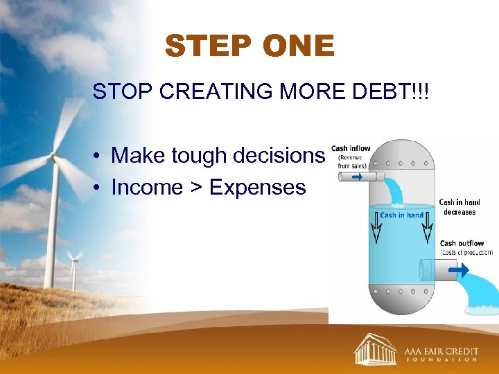 STEP ONE STOP CREATING MORE DEBT!!! • Make tough decisions • Income > Expenses