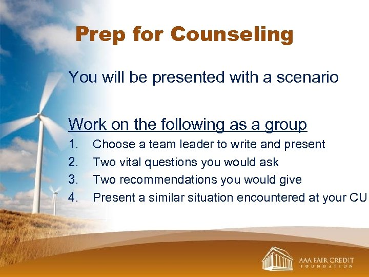 Prep for Counseling You will be presented with a scenario Work on the following
