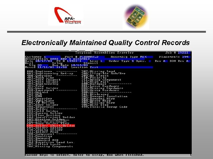 Electronically Maintained Quality Control Records