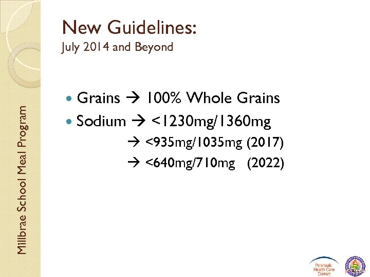 New Guidelines: Millbrae School Meal Program July 2014 and Beyond Grains 100% Whole Grains