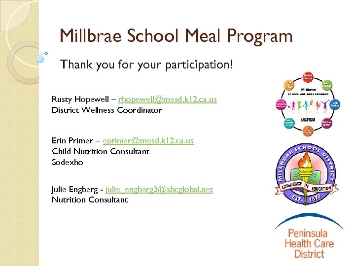 Millbrae School Meal Program Thank you for your participation! Rusty Hopewell – rhopewell@mesd. k