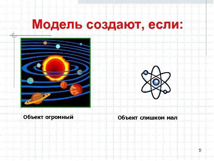 Модель создают, если: Объект огромный Объект слишком мал 5