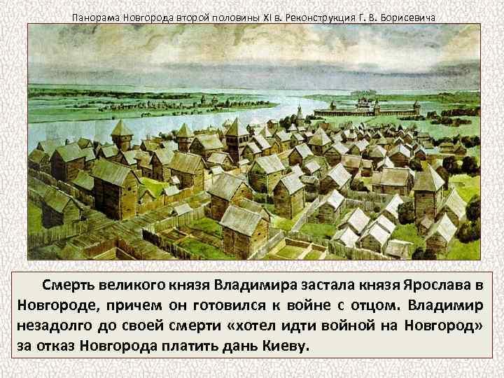 Панорама Новгорода второй половины XI в. Реконструкция Г. В. Борисевича Смерть великого князя Владимира