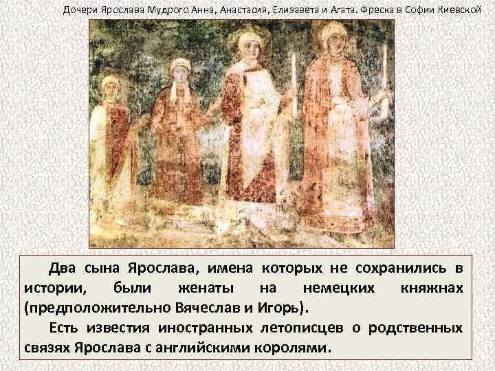 Дочери Ярослава Мудрого Анна, Анастасия, Елизавета и Агата. Фреска в Софии Киевской Два сына