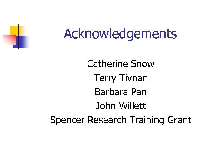 Acknowledgements Catherine Snow Terry Tivnan Barbara Pan John Willett Spencer Research Training Grant