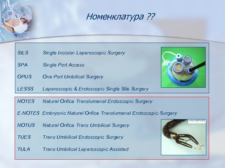 Номенклатура ? ? SILS Single Incision Laparoscopic Surgery SPA Single Port Access OPUS One
