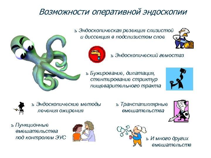 Возможности оперативной эндоскопии ь Эндоскопическая резекция слизистой и диссекция в подслизистом слое ь Эндоскопический