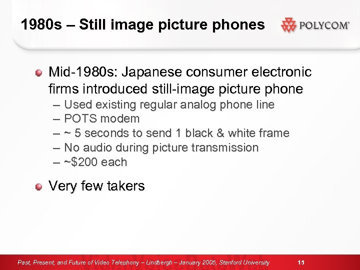 1980 s – Still image picture phones Mid-1980 s: Japanese consumer electronic firms introduced
