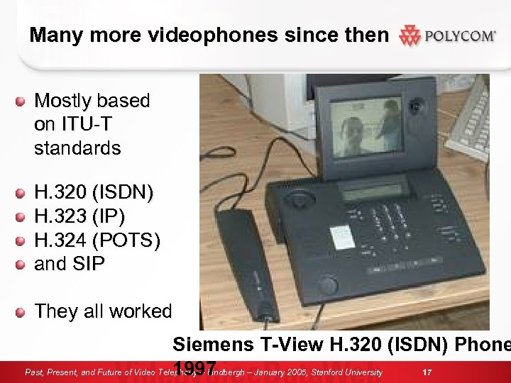 Many more videophones since then Mostly based on ITU-T standards H. 320 (ISDN) H.