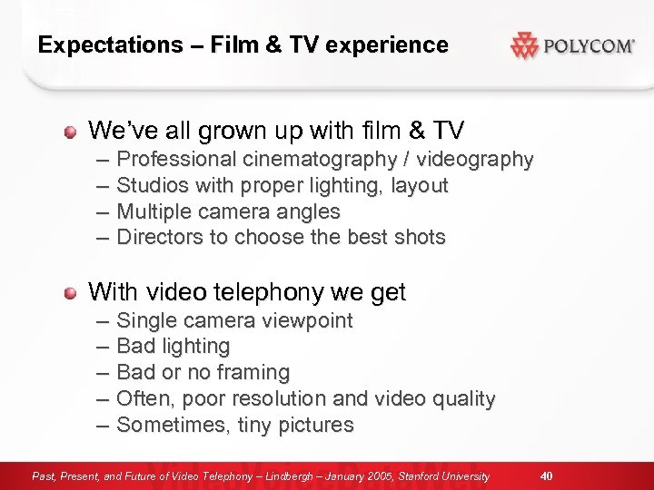 Expectations – Film & TV experience We've all grown up with film & TV