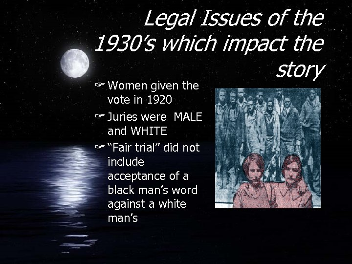 Legal Issues of the 1930's which impact the story F Women given the vote