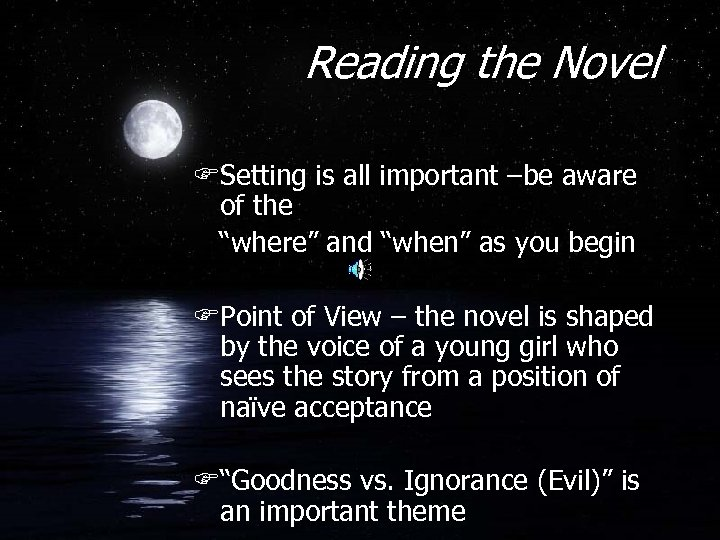 """Reading the Novel FSetting is all important –be aware of the """"where"""" and """"when"""""""