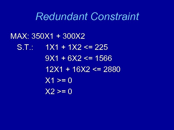 Redundant Constraint MAX: 350 X 1 + 300 X 2 S. T. : 1