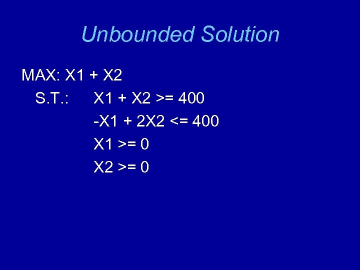 Unbounded Solution MAX: X 1 + X 2 S. T. : X 1 +