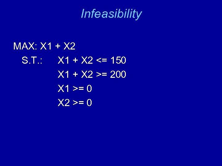 Infeasibility MAX: X 1 + X 2 S. T. : X 1 + X
