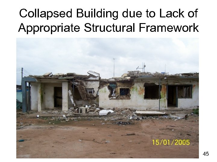 Collapsed Building due to Lack of Appropriate Structural Framework 45