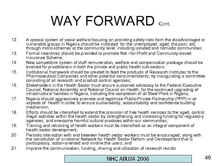 WAY FORWARD 12. 13. 14. 15. 16. 17. 18. 19. 20. 21. Cont. A