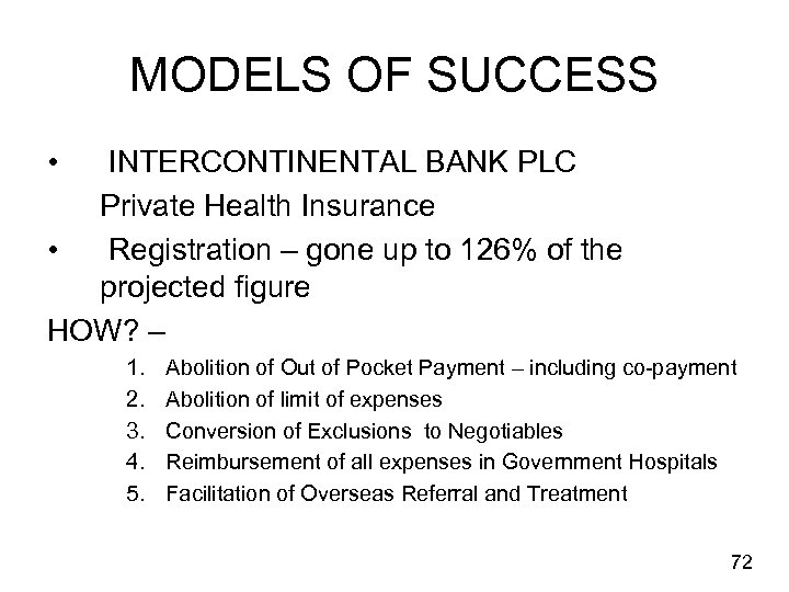 MODELS OF SUCCESS • INTERCONTINENTAL BANK PLC Private Health Insurance • Registration – gone