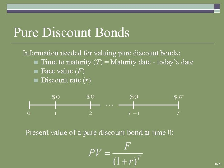 Pure Discount Bonds Information needed for valuing pure discount bonds: n Time to maturity