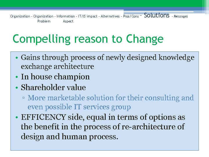 Organization – Information – IT/IS impact – Alternatives – Pros/Cons Problem Aspect – Solutions