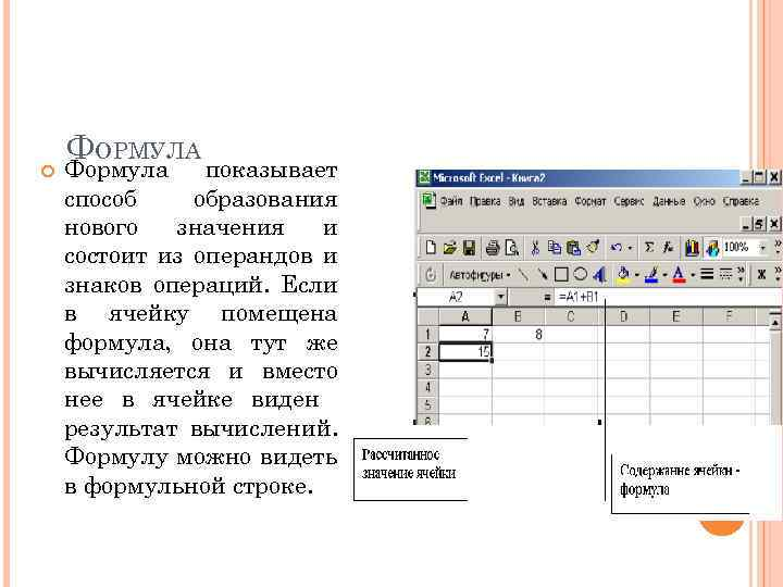 ФОРМУЛА Формула показывает способ образования нового значения и состоит из операндов и знаков
