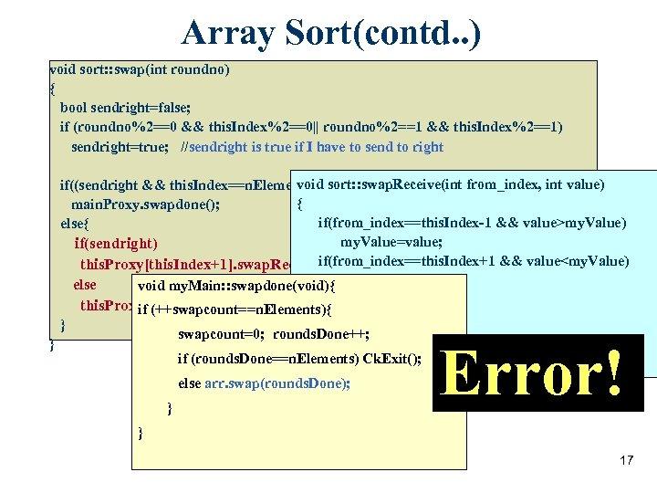 Array Sort(contd. . ) void sort: : swap(int roundno) { bool sendright=false; if (roundno%2==0
