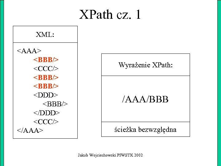 XPath cz. 1 XML: <AAA> <BBB/> <CCC/> <BBB/> <DDD> <BBB/> </DDD> <CCC/> </AAA> Wyrażenie