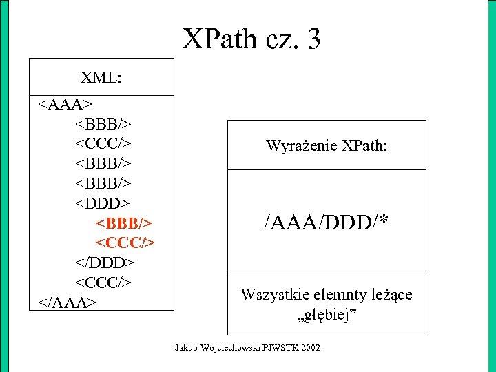 XPath cz. 3 XML: <AAA> <BBB/> <CCC/> <BBB/> <DDD> <BBB/> <CCC/> </DDD> <CCC/> </AAA>