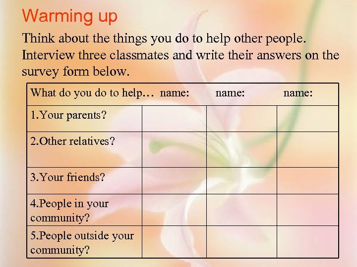 Warming up Think about the things you do to help other people. Interview three