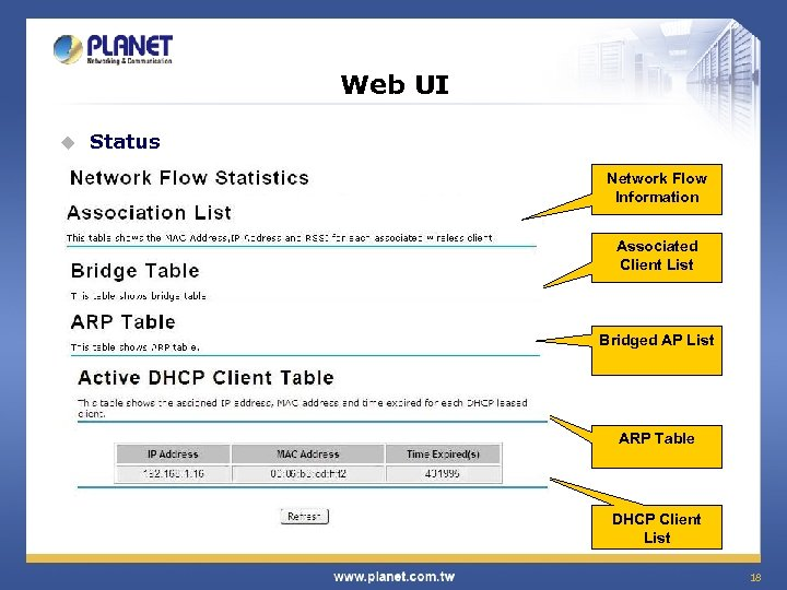 Web UI u Status Network Flow Information Associated Client List Bridged AP List ARP