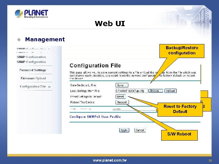 Web UI u Management Backup/Restore configuration SNMP v 2, v 3 Local / Remote