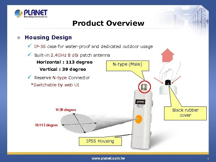 Product Overview u Housing Design ü IP-55 case for water-proof and dedicated outdoor usage