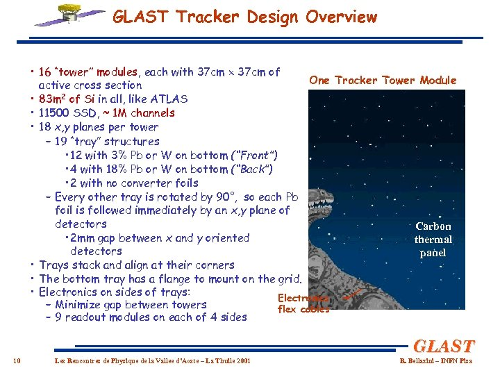 "GLAST Tracker Design Overview • 16 ""tower"" modules, each with 37 cm of One"